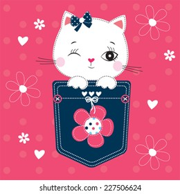 cute white cat in the pocket vector illustration