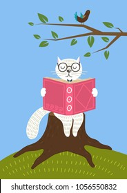 Cute white cat reading book outdoor. Clever cat siting on stump. Hand drawn vector illustration.