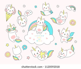 cute white cat unicorn with rainbow and tail set including cute elements such as stars, donuts, ice-cream, etc. Vector illustration