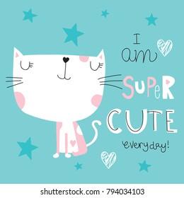 cute white cat vector illustration