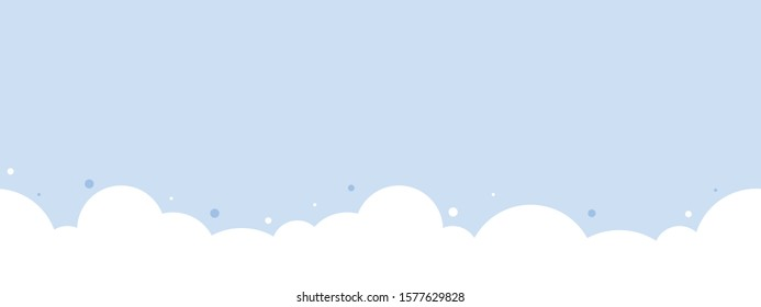 Cute white cloud on pastel blue sky bottom border seamless pattern.