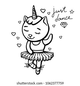 Cute white dancing cat unicorn with horn on white background with hearts. Hand drawn vector illustration for t shirt printing and embroidery.