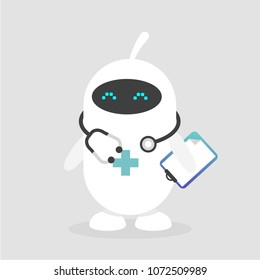 Cute white doctor robot. Modern health care. Flat editable vector illustration, clip art