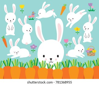 Cute white easter bunny rabbit vector illustration and flowers.