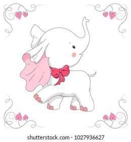 Cute white elephant. Hand drawn cartoon baby elephant illustration. It can be used for baby t-shirt design, fashion print, velentines day card, poster, design element for children's clothes