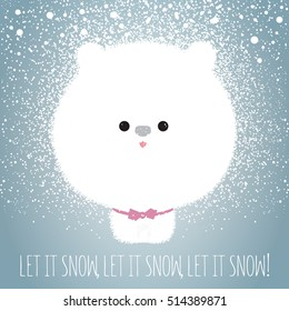Cute white fluffy dog looking like snowball enjoys falling snowflakes. Let it snow. Happy Holidays concept. Illustration.