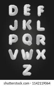 Cute white fur alphabet. Vector Illustration