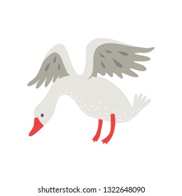 Cute White Goose Cartoon Character Flapping Its Wings Vector Illustration
