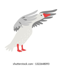 Cute White Goose Cartoon Character Flapping Its Gray Wings Vector Illustration