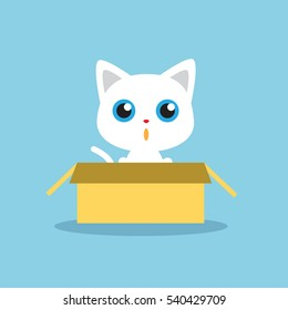 Cute white kitten in the box isolated vector illustration