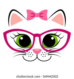 Cute white kitten with pink bow and glasses. Girlish print with kitty for t-shirt