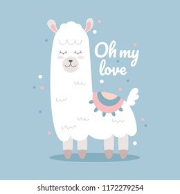 Cute white lama