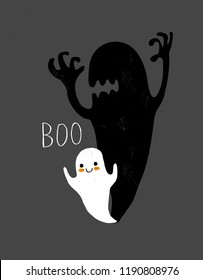 Cute White Little Ghost with Big Scary Shadow. Funny Simple Halloween Vector Illustration.Grunge Hand Drawn Halloween Infantile Vector Art. White Ghost and Handwritten Boo on a Dark Gray Background.