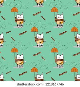 Cute white little kitty wearing a stripe scarf and scott pattern pants,hold a dot umbrella under raindrops on nice green background.Cartoon animal vector illustration.Seamless pattern for kids fasion.