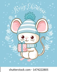 Cute white little mouse is holding a New Year's gift. Vector illustration on the Christmas theme with a cartoon rodent. Merry  Christmas card.