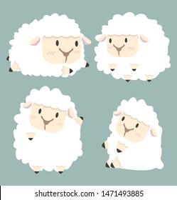 Cute white little sheep vector set