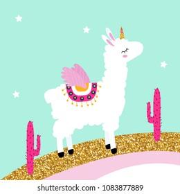 Cute white llama unicorn on glitter rainbow with pink cactus. Vector hand drawn illustration.