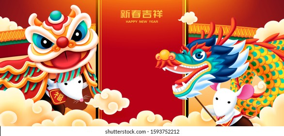 Cute white mice playing dragon and lion dance for lunar year, Chinese text translation: fortune, happy new year