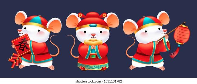 Cute white mice wearing folk costume holding lantern, firecrackers and gold ingot