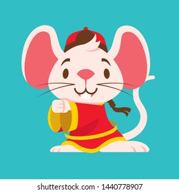 Cute white mouse with big ears wears traditional Chinese jacket greeting Gong Xi Fa Cai. Chinese New Year 2020. The year of rat/mice/mouse. - Vector