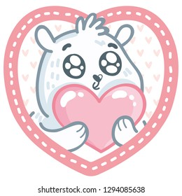 Cute white Polar Bear character with googly eyes madly in love holding big heart on pink romantic background. Cute hand drawn art illustration in cartoon, doodle style