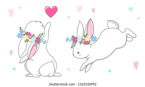 Cute white rabbit  romantic bunny collection with flowers wreath and hearts. Set of vector children's animal for kids or babies shirt design, fashion print, Easter postcard