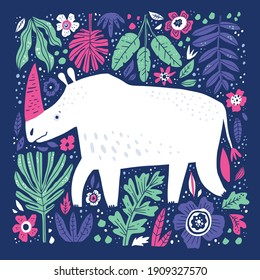 Cute white rhino hand drawn vector illustration. Friendly rhinoceros cartoon character. Adorable african animal with pink horn isolated on blue background. Childish t shirt print design