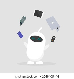 Cute white robot juggling the electronic devices: mobile phone, virtual reality glasses, tablet, laptop and game controller. Multitasking / editable flat vector illustration