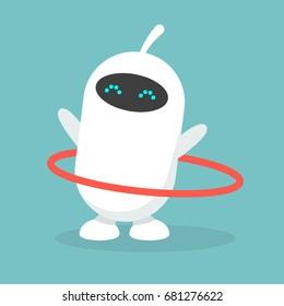 Cute white robot twirling a hoop / flat editable vector illustration, clip art
