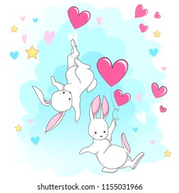 Cute white romantic bunny with heart. Vector children's animal for kids or babies shirt design, fashion print, Easter postcard