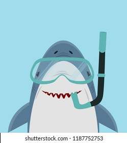 Cute White Shark  with diving equipment