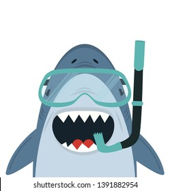 Cute White Shark  with diving equipment vector