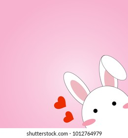 Cute white tiny rabbit peeking and shy on pink pastel color background with red hearts for Valentine and spring concept vector and illustration