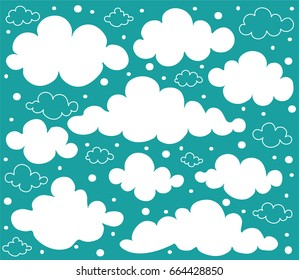 Cute white and transparent clouds on a blue sky. Vector illustration