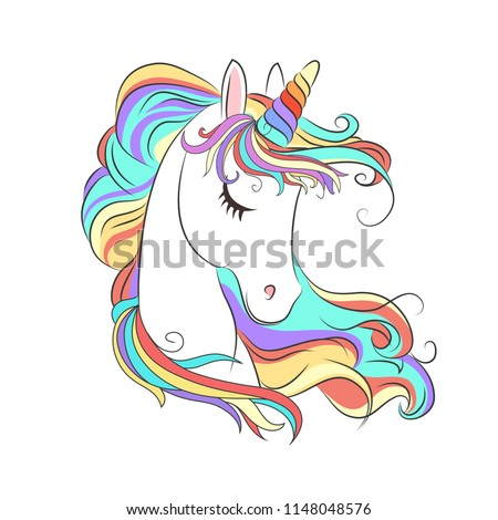d6fb6060a Cute White Unicorn with rainbow hair vector illustration for children design.  Sweet fantasy character for t-shirts and cards - Vector