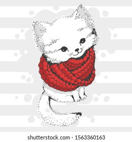 Cute white winter cat in a knitted scarf. Made in a limited color palette. For postcards or prints on clothes
