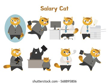 Cute white-collar cat character personification vector illustration flat design