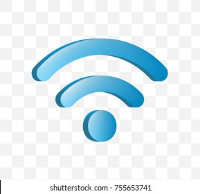 Cute Wifi Icon on Transparent Background . Isolated Vector Illustration