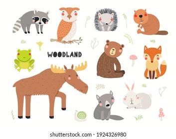 Cute wilde Tiere Clipkunst Sammlung, einzeln auf Weiß. Handgezeichnete Vektorgrafik. Holzelemente setzen sich zusammen. Skandinavisches Flachdesign. Konzept für Kindermode, Stoffdruck, Poster, Karte