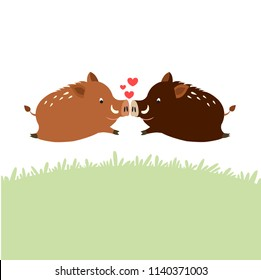 Cute wild boars falling in love cartoon character. Vector illustration.