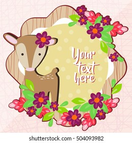 Cute Wild Deer Background with flowers