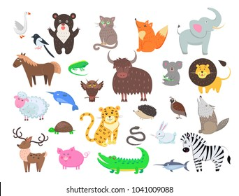 Cute wild and domestic animals cartoon stickers or icons set. Funny owl, leopard, turtle, crocodile, and pig isolated flat vectors. Bird, mammals and reptiles illustrations outlined with dotted line