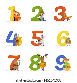 Cute Wild Ethnic Animals and Numbers, Birthday Anniversary Numbers Vector Illustration