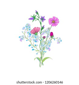 Cute Wild Flowers Bouquet Isolated on White Background for Greeting Cards, Wedding Invitations, Illustrations, Web, Textile Designs. Vector Bouquet of Cosmos Flowers, Bellflowers and Forget mt not
