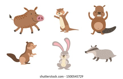 Cute Wild Forest Animals Set, Gopher, Wild boar, Beaver, Hare, Chipmunk, Badger Vector Illustration