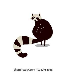 Cute wild raccoon cartoon illustration