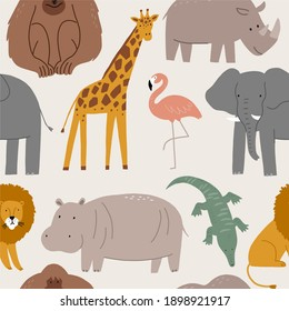 Cute wild safari African animals - Vector illustration. Seamless pattern with Elephant, hippo, giraffe, crocodile, lion, flamingo, monkey. Cartoon doodle characters in scandinavian style for ch