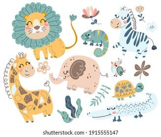 Cute wild safari African animals. Including lion, giraffe, elephant, lizard, turtle, iguana, zebra, crocodile, kiwi bird. Set of doodle characters in scandinavian style isolated on white background