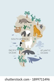 Cute wild South America animals - Vector illustration. Jaguar, armadillo, sloth, tapir, alpaca, toucan, whale, anteater. Cartoon doodle characters in scandinavian style for children