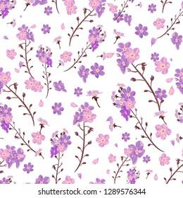 Cute wildflower littel blossom. Ditzy design seamless pattern